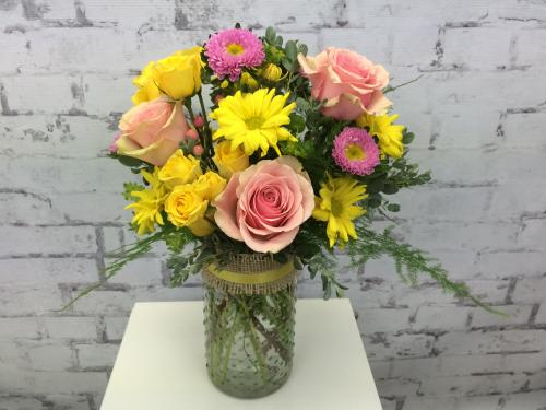 Pastel Jar of Flowers