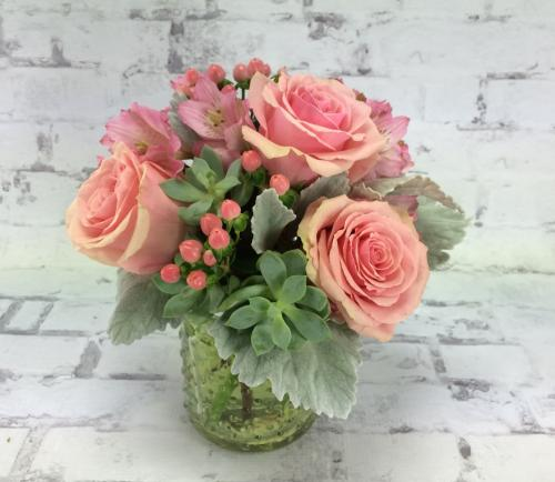 Succulent and Rose Jar